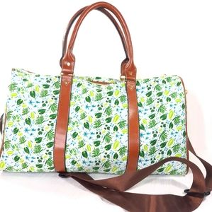 Tropical Leaf Print Luggage Bag Carry On Duffle